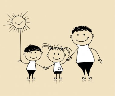 Happy family smiling together, father and children, drawing sketch