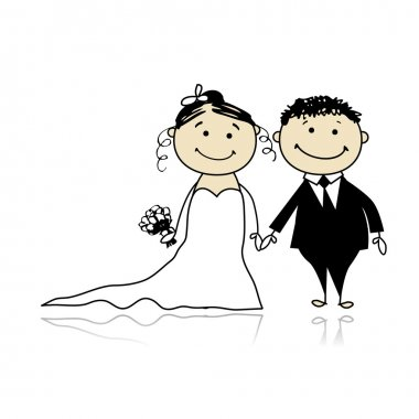 Wedding ceremony - bride and groom together for your design stock vector