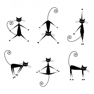 Graceful cats silhouettes black for your design