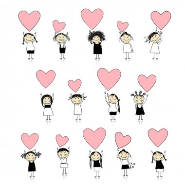 Cute girls with valentine hearts for your design