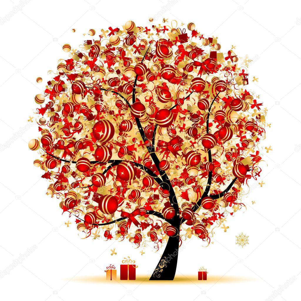 Rbol de navidad dorado para su dise o archivo im genes - Arbol de navidad diseno ...