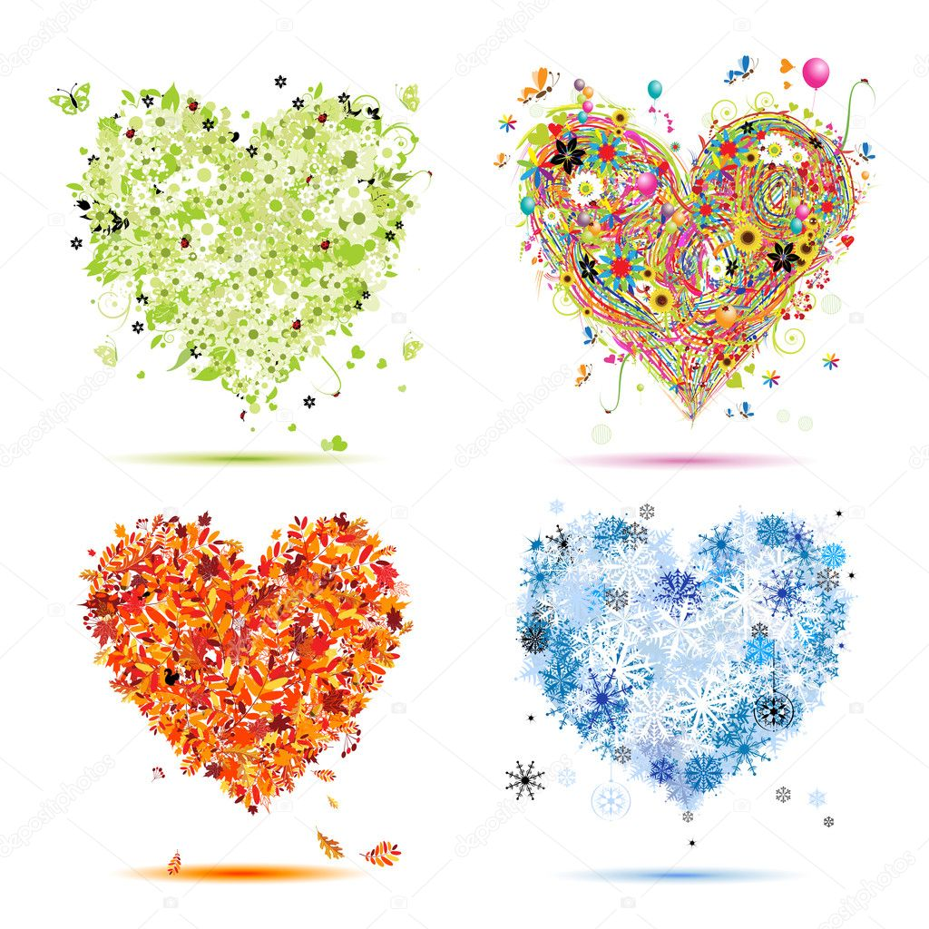 Four seasons - spring, summer, autumn, winter. Art hearts beautiful for you