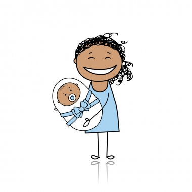 Happy mother smiling with newborn baby