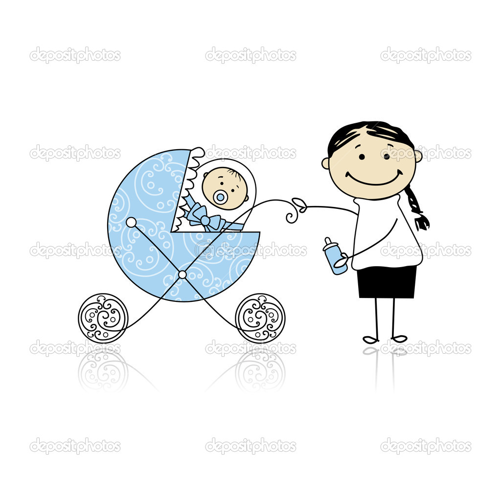 Mother with baby in buggy walking