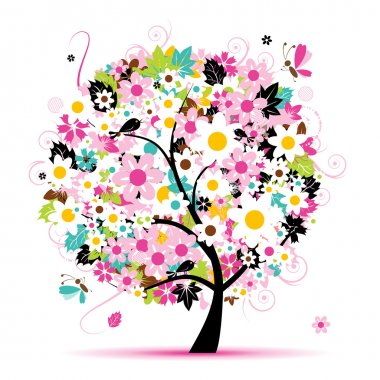 Summer floral tree for your design clip art vector