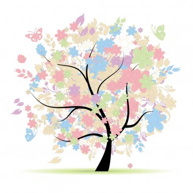 Floral tree in pastel colors for your design, spring clip art vector