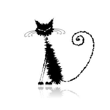 Funny black wet cat for your design