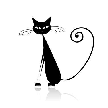 Funny black cat for your design