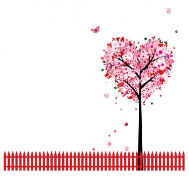 Pink floral tree, heart shape for your design