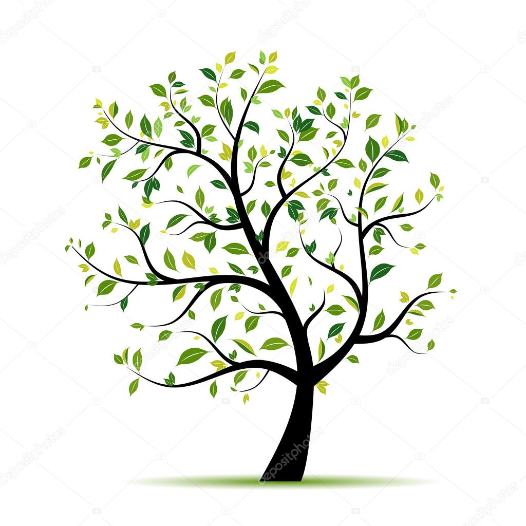 Spring tree green for your design