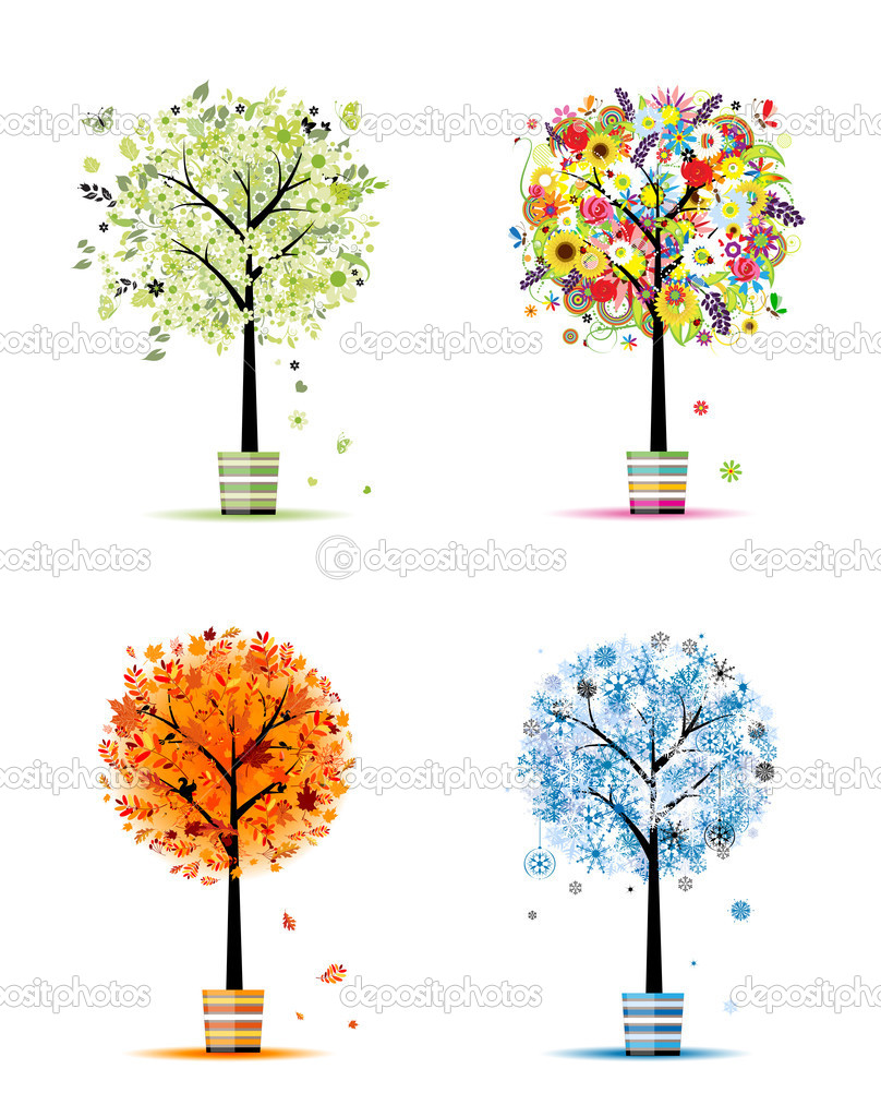 Four seasons - spring, summer, autumn, winter. Art trees in pots for your d