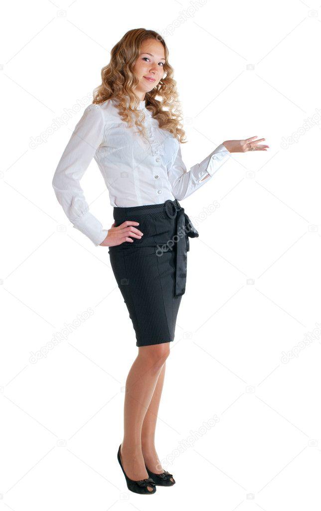 nuovo di zecca c6d87 2d956 Ragazza in una camicia bianca e gonna nera — Foto Stock ...