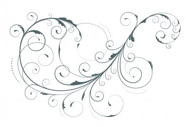 Illustration of swirling flourishes decorative floral element stock vector