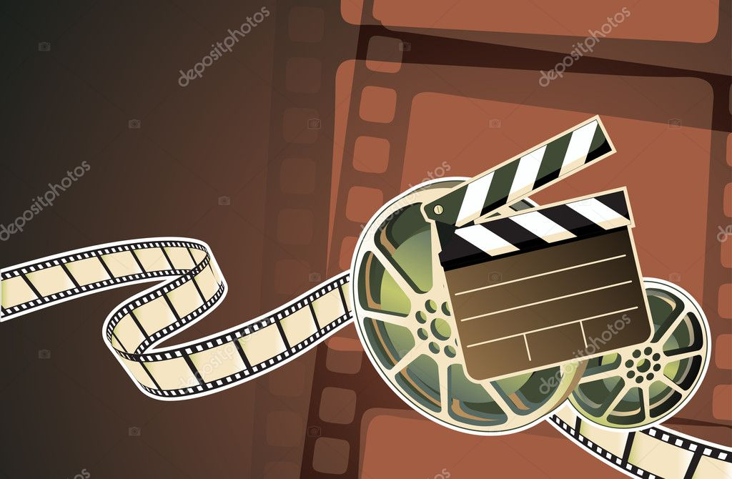 Illustration of abstract background with film, clapperboard and a film reel