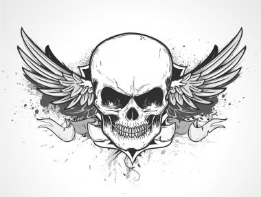 Winged human skull