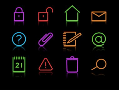 Set of elegant neon simple icons for common computer functions stock vector