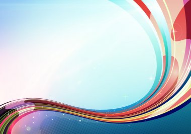 Illustration of colorful abstract background made of light splashes and curved lines stock vector