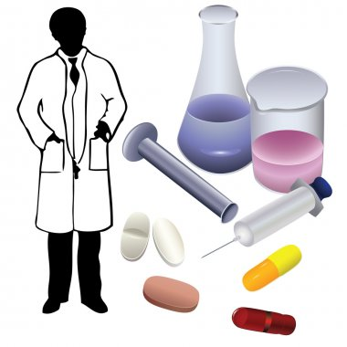 Medications and the silhouette of a physician.