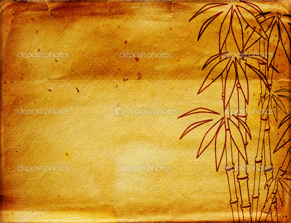 Grunge background with figure of bamboo