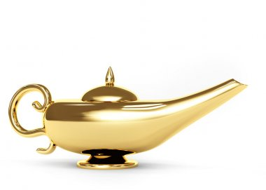Symbol performance of desires - magic lamp. Object over white stock vector