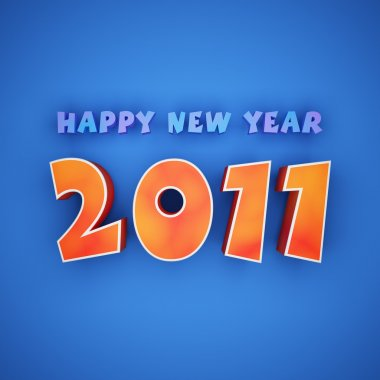 Colorful words of happy new year 2011 on blue background stock vector