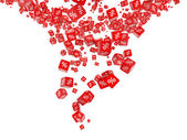 Fotografie fallende rote Würfel mit Prozent