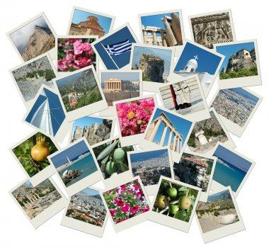 Go Greece - background with travel photos of famous landmarks
