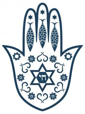 Jewish sacred amulet - hamsa or Miriam hand, vector illustration