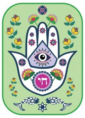 Jewish hamsa hand amulet - or Miriam hand, vector illustration