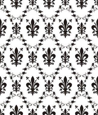 Seamless damask royal vector texture with fleur-de-lis clip art vector