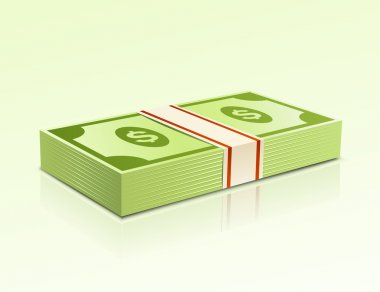 Packs of dollars money on green background