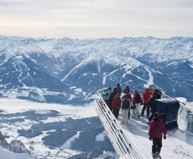 The observation deck with tourists. Dachstein. Austria