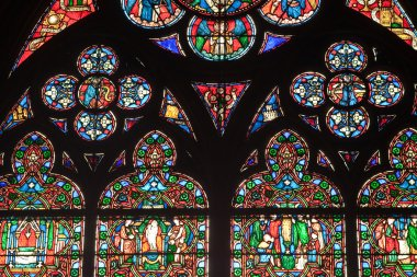 Fragment of stained glass windows in the cathedral of Notre Dame