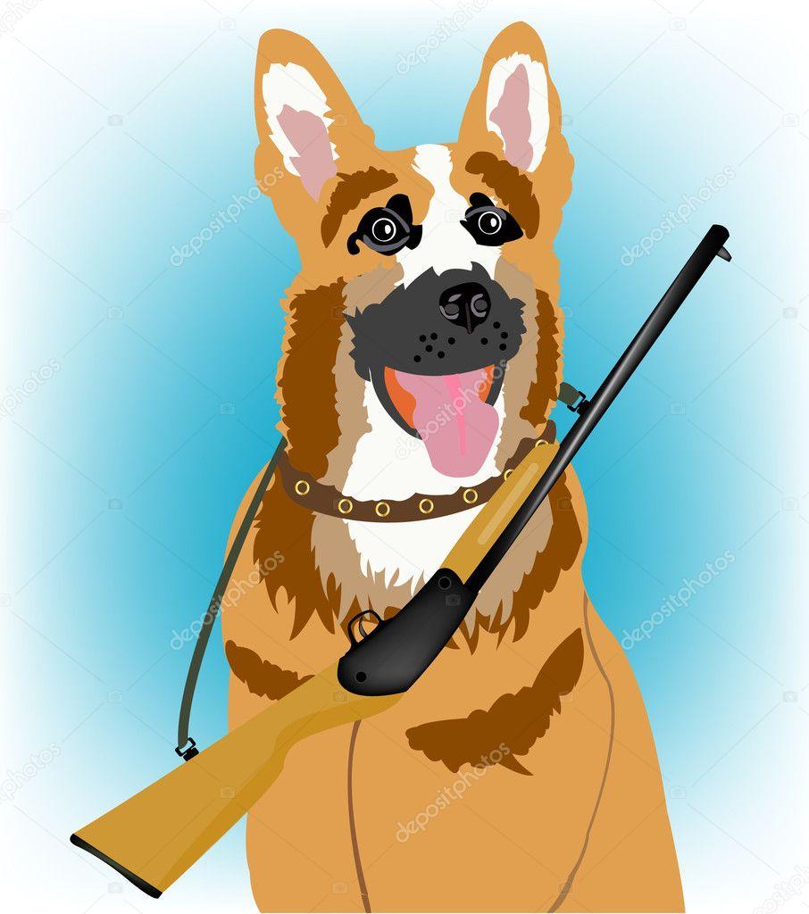 Собаки и ружье в картинках
