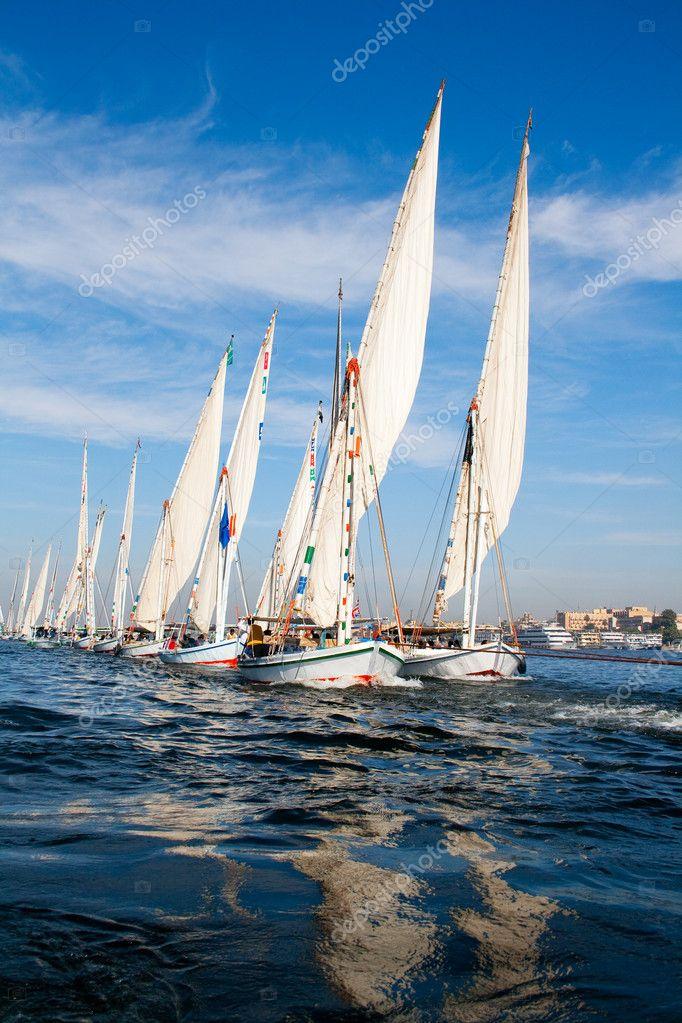 Ships in blues sea