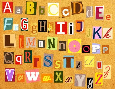 Colorful alphabet with letters torn from newspapers
