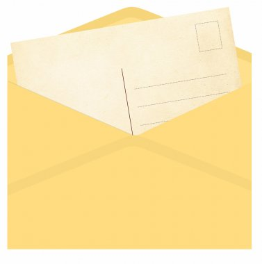 Vintage envelope with postcard isolated on a white stock vector