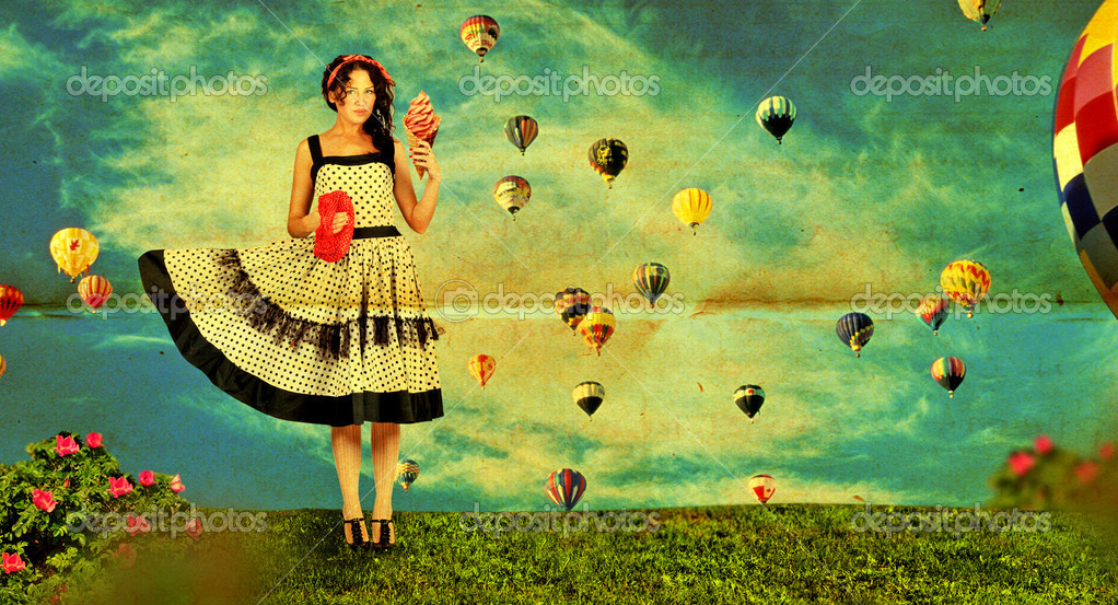 Vintage collage with woman