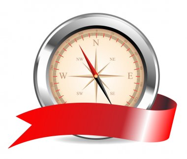 Vector silver compass on a white background for yours design