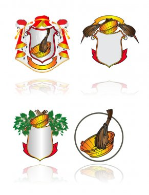 Set heraldic symbols on subjects of cleanliness, health and Russian bath