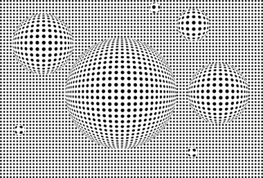 Monochrome background from points with acting spherical forms