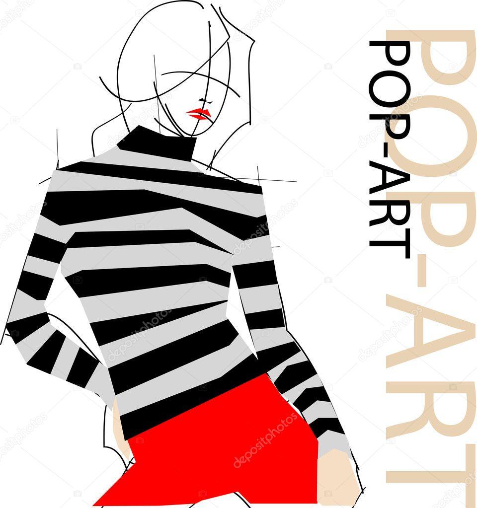 Fashion pop-art girl illustration