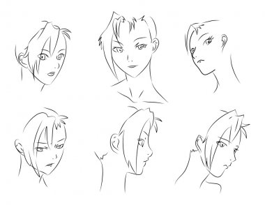 Set of vector sketches. A fine woman