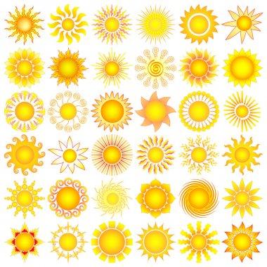 Bright symbolic vector sun collection