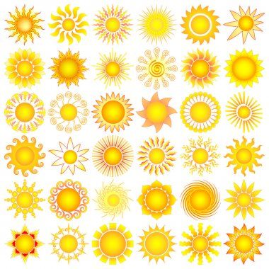 Bright symbolic vector sun collection stock vector