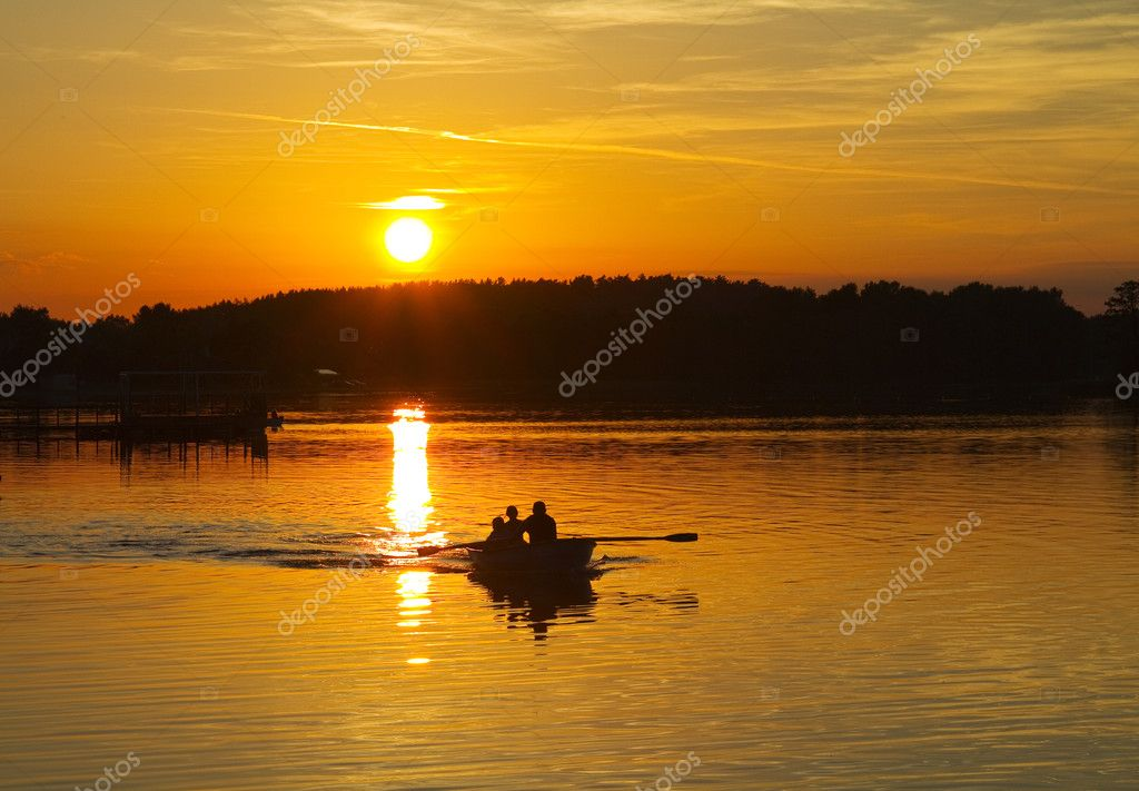 Sunset on the lake, boat