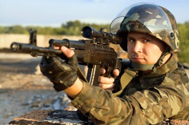Portrait of sniper