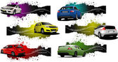 Fotografie Six grunge Banners with cars. Vector illustration