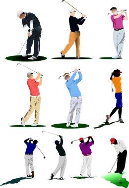Ten Golf players. Vector illustration