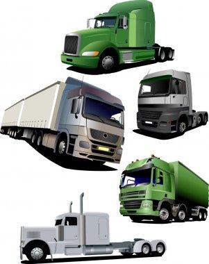 Vector illustration of five trucks